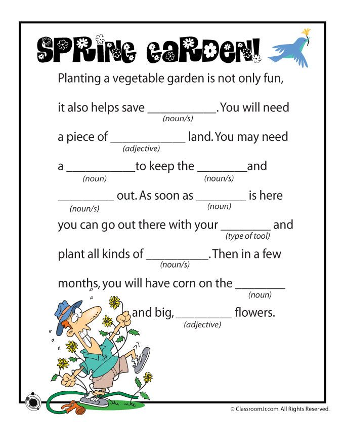 3 spring mad libs for kids, free to print and in full color!