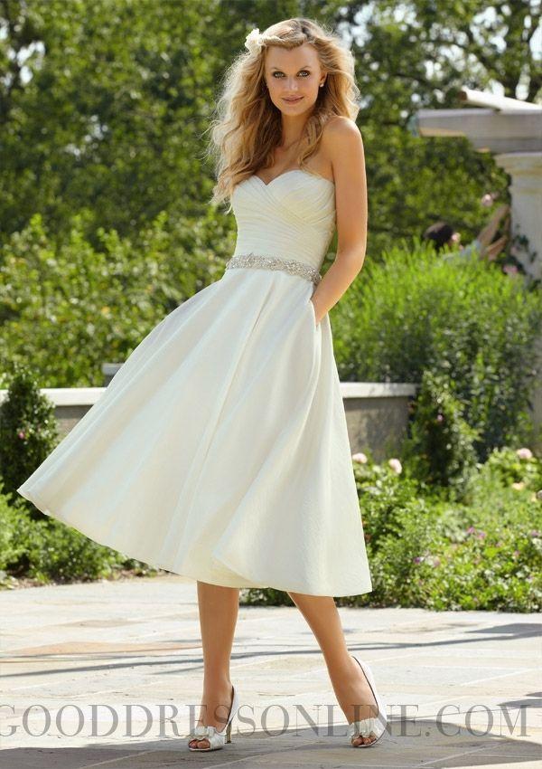 Unique Beading A-line Sweetheart Taffeta Wedding Dresses