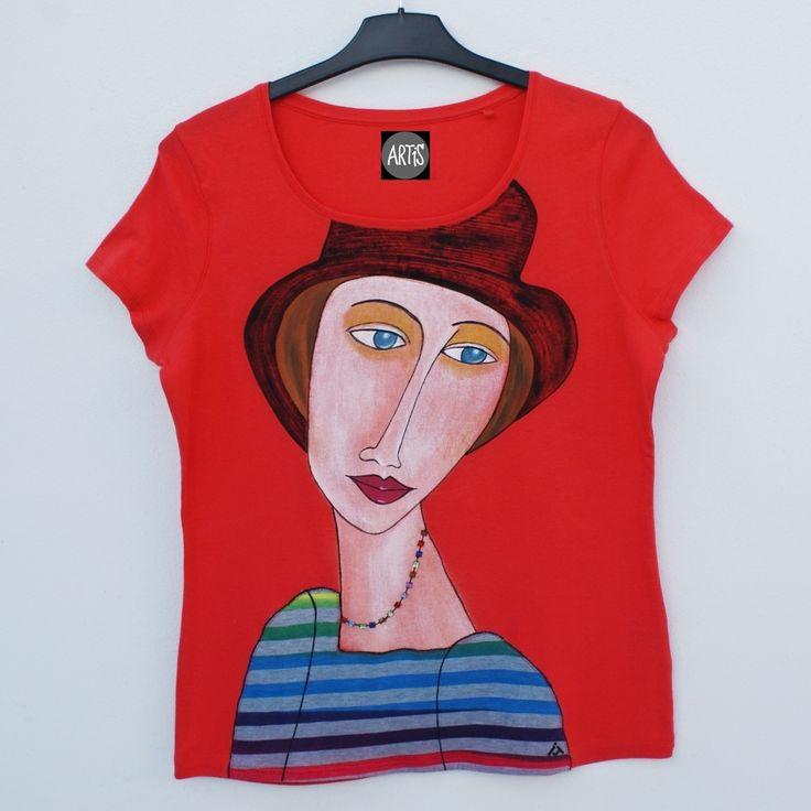 Dámské tričko Amedeo Modigliani ruční malba + aplikace + našívané korálky