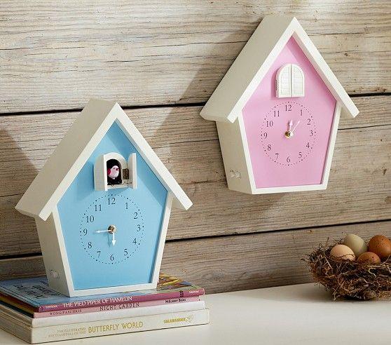 Birdhouse cuckoo clocks pottery barn kids beanie 39 s big for Kids room clock