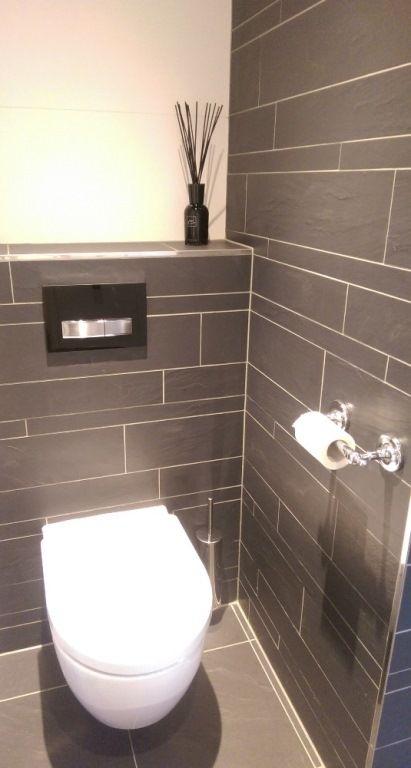 Toilet Met Tegels In Wildverband Antraciet Gemaakt Door
