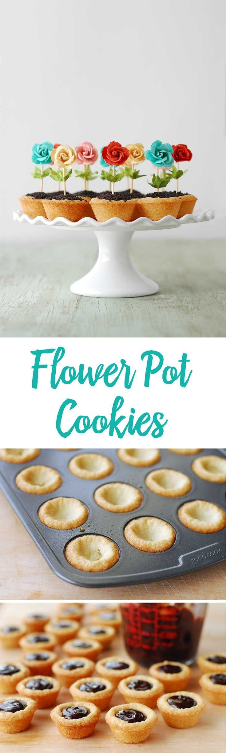 Kate would love these! These Flower Pot Cookies are perfect for spring! The bright colors pop and the easy recipe makes them a fun party idea. The cookies cups are filled with chocolate ganache and cookie crumbs!