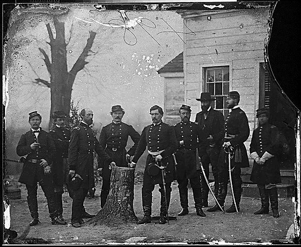 Gen. George B. McClellan and staff of eight; recognized -- Gen. Martin T. McMahon, Gen. George W. Meade, Col. Albert V. Colburn, Gen. Nelson B. Sweitzer, Capt. Prince de Joinville, Capt. Count de Paris. (1860-1865)