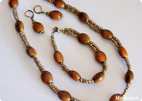 Terracotta keramic beads jewellery set / Terrakotta kerámia gyöngy szett  - nyaklánc, karkötő és fülbevaló, Ékszer, óra, Ékszerszett, Fülbevaló, Karkötő, Meska
