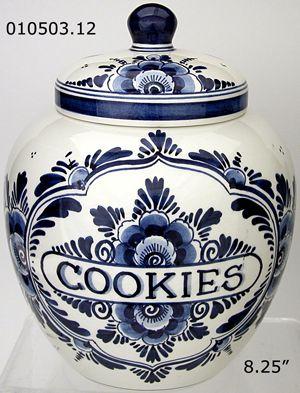 *BLUE FLORAL DELFT ~ Cookie Jar