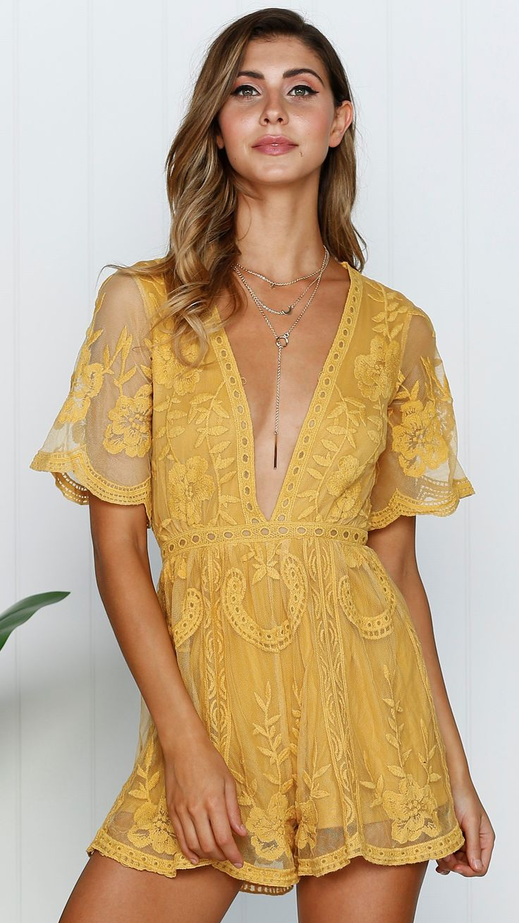 Slideshow - Earth Angel Playsuit - Mustard