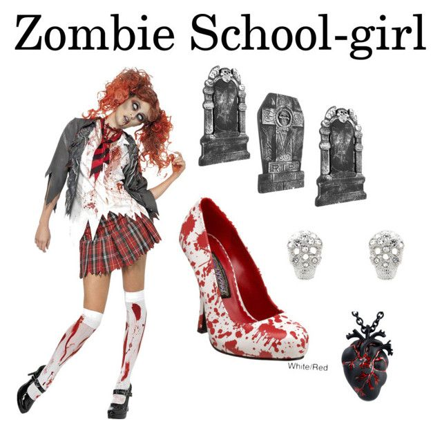 """Zombie School-Girl"" by moosewoof ❤ liked on Polyvore featuring Cachet and Funtasma"