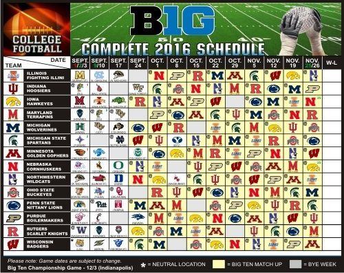 2016 Iowa Hawkeyes, Maryland Terrapins + ALL - Large Football Schedule Magnet…