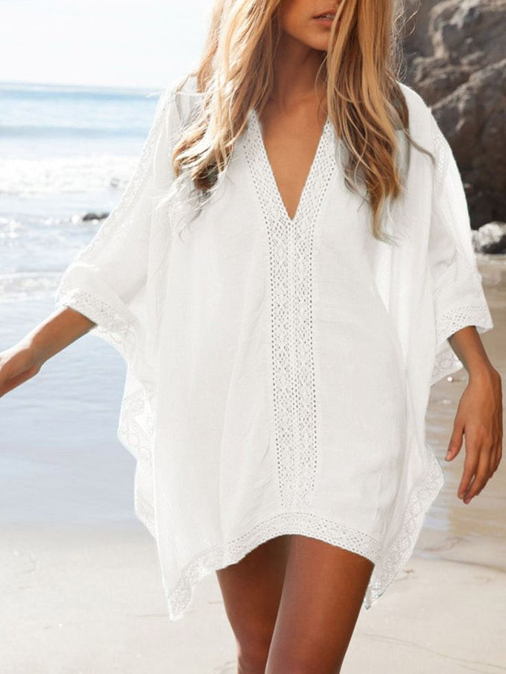 White,Oversize,V-neck,Poncho,Beach,Cover Up,Blouse,Dress-top