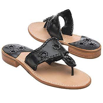 Jack Rogers Navajo Sandals (Black/Black Patent) - Women's Sandals - 7.5 M