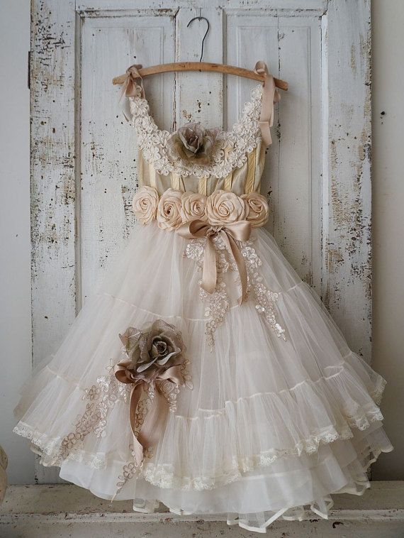 Handmade petticoat dress wall art shabby cottage chic unique wall decoration one of a kind French farmhouse home decor anita spero design  This
