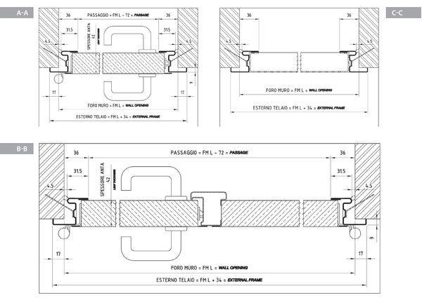 Disegni, sezioni, dettagli | porte tagliafuoco metalliche - maniglioni antipanico - serrature