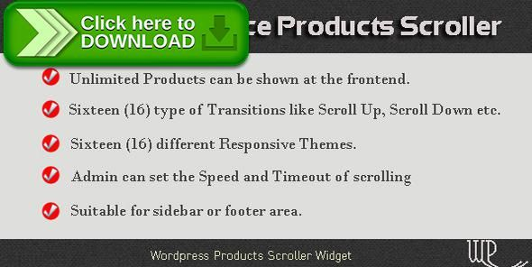 [ThemeForest]Free nulled download WP WooCommerce Products Scroller from http://zippyfile.download/f.php?id=59058 Tags: ecommerce, responsive slider, woocommerce product slider, WooCommerce product widget, WooCommerce responsive slider, WooCommerce slider widget, wordpress products slider, wordpress slider, wordpress slider widget, wp responsive slider, wp slider, wp slider widget, wp woocommerce product slider, wp WooCommerce slider, wp WooCommerceproduct widget