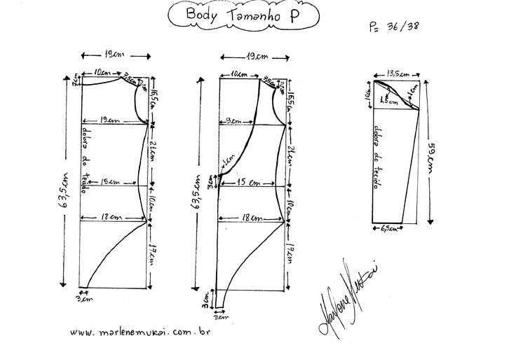Molde de Body tamanho P (36/38).