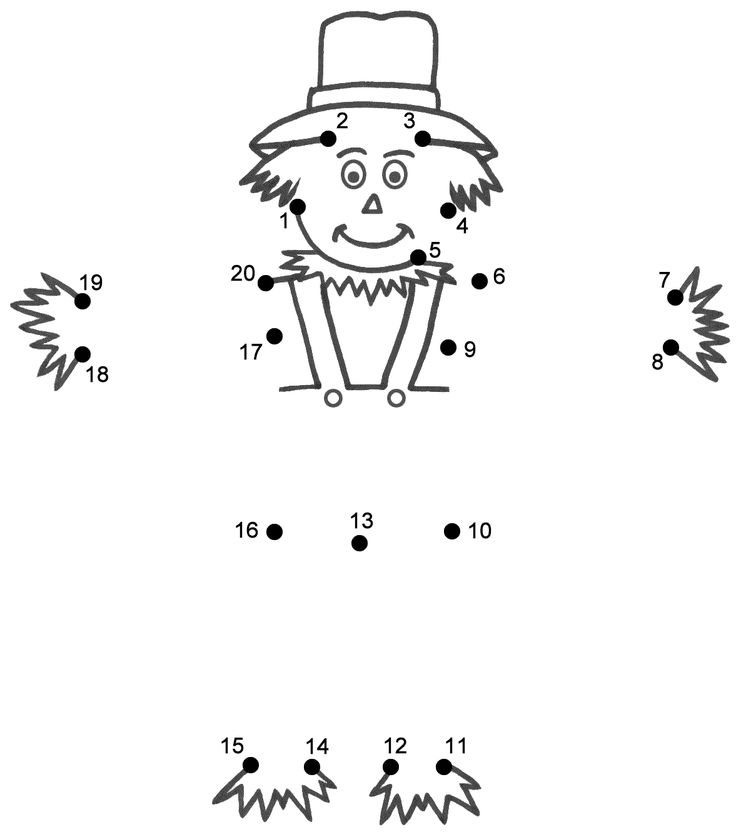 connect the dot scarecrow | Scarecrow - Connect the Dots (count by 1's)