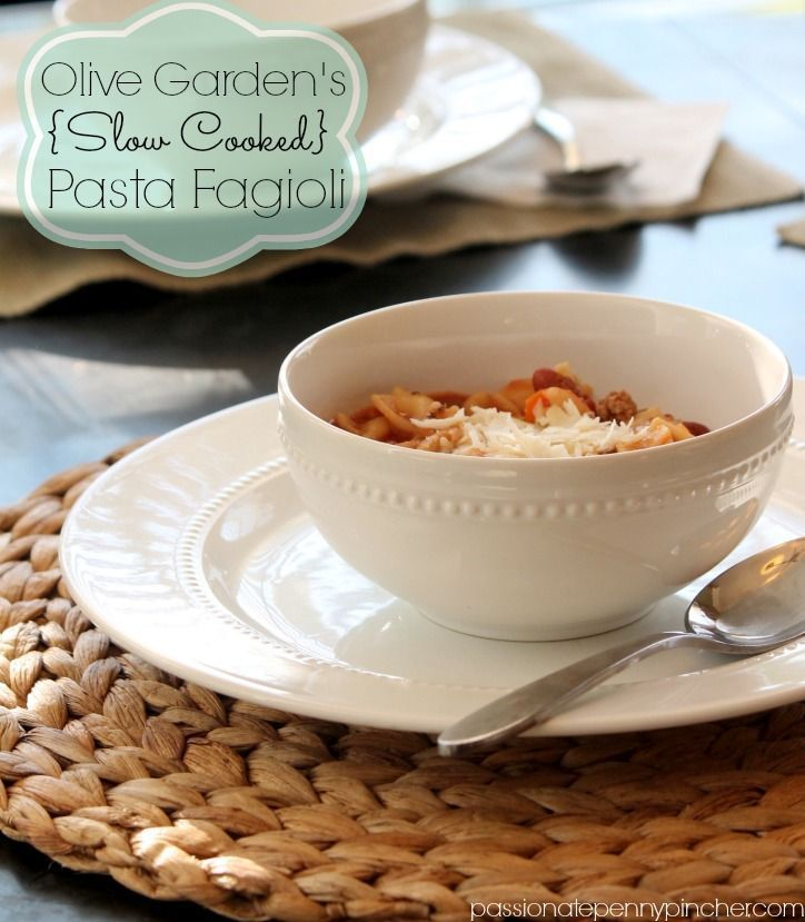 Olive Garden Pasta Fagioli Soup Recipe {Slow Cooker} - makes a ton!