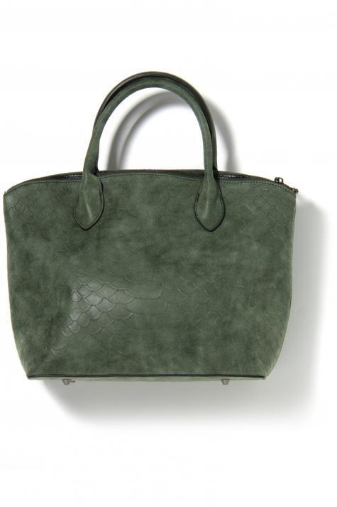 Vergroot - Groene handtas met reliëfstructuur in nepleder