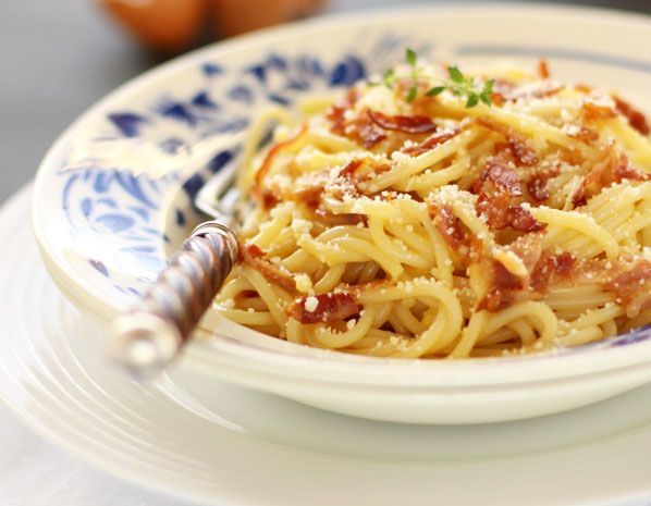 mmmmm authentic Spaghetti Carbonara...crispy pancetta, whipped eggs and pecorino romano...I gotta make this!!!