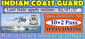 Indian Coast Guard Group A Recruitment 2017
