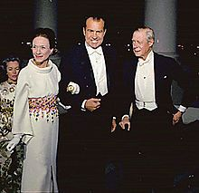 The Duke and Duchess of Windsor at the White House for dinner with U.S. President Richard Nixon in 1970.