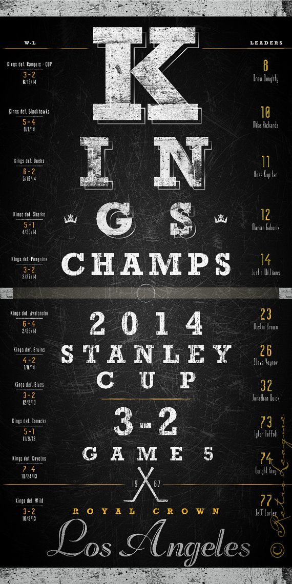 2014 LA Kings Stanley Cup Champs Eye Chart  by RetroLeague on Etsy, $29.50