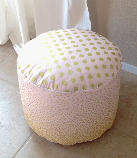 Pink And Gold Pouf Floor Nursery Ottoman By SandHcreate