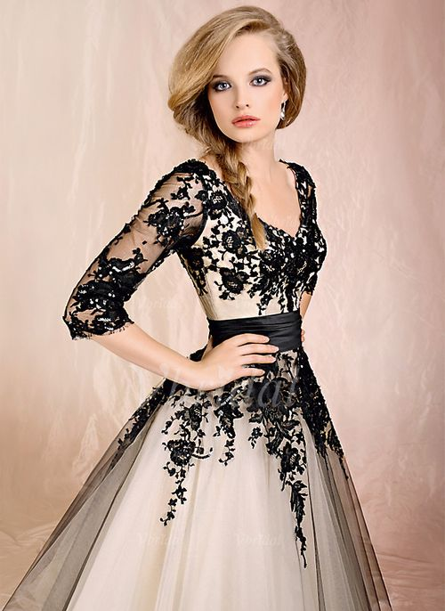 Wedding Dresses - $138.28 - Ball-Gown V-neck Ankle-Length Tulle Charmeuse Wedding Dress With Ruffle Lace (00205003026)