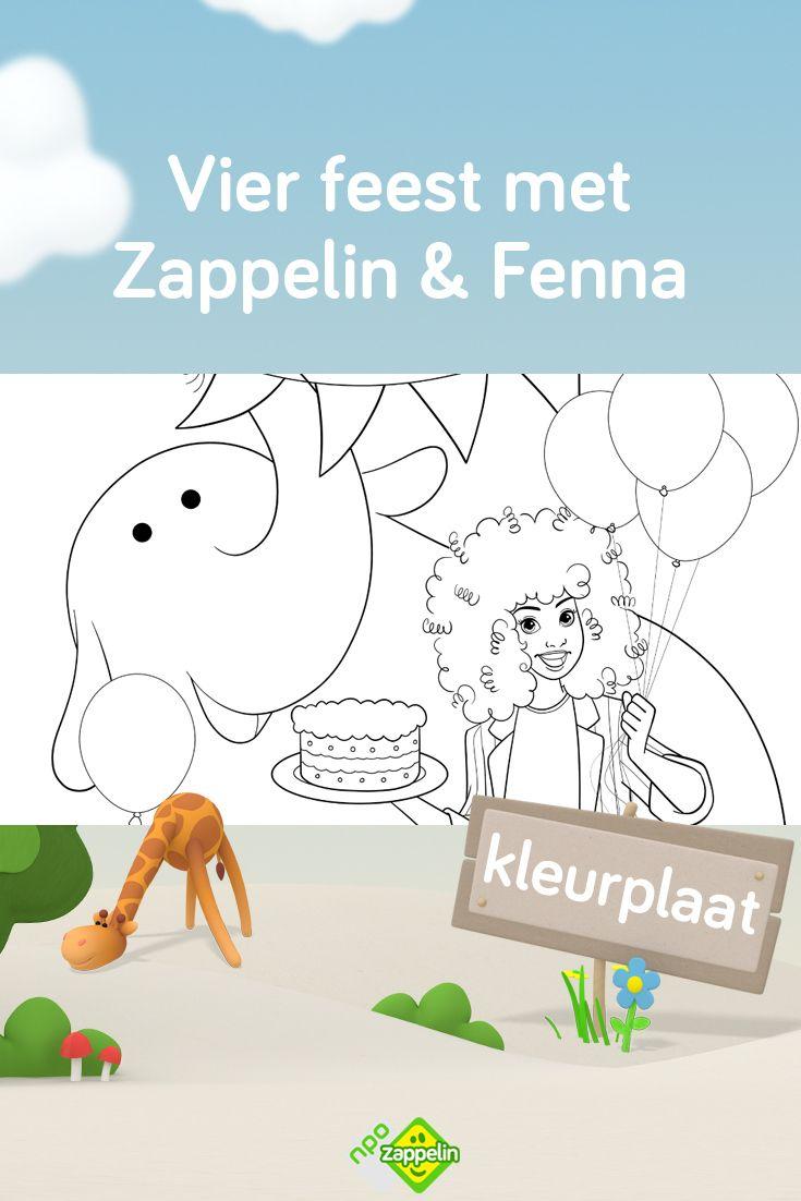 Kleurplaat Vier Feest Met Fenna En Zappelin Vriendjes Verjaardag Diy Kleurplaten Verjaardag