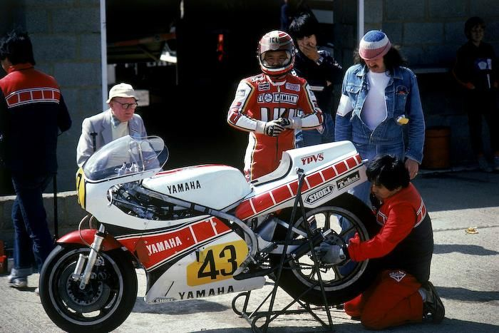 ready to race … Ikujiro Takai, Yamaha YZR500, 1981 FIM 500cc World Championship