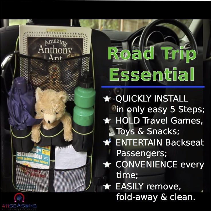Amazon.com: #1 Large Backseat Organizer - Best Reinforced Straps (48.8 & 19.3 Inches) - FREE BONUS Video - 411 Seasons™ NEW, Easy Install, Durable, Storage Pocket Car Seat Protector for Family Travel & Pet Items!: Automotive