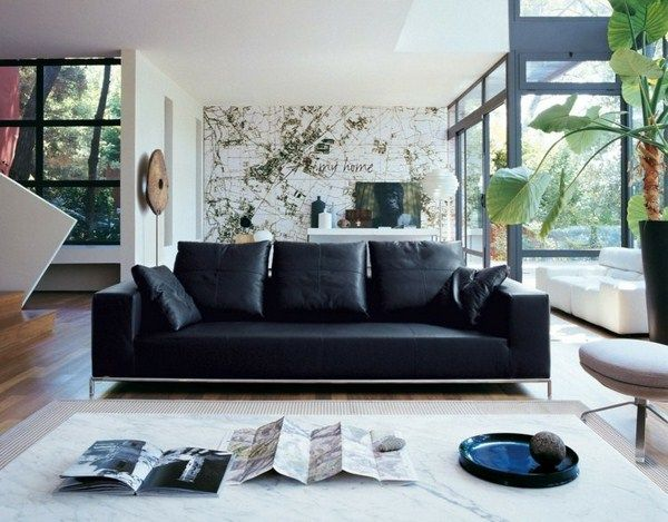 living room ideas black leather sofa marble white couch lish bright ambiente