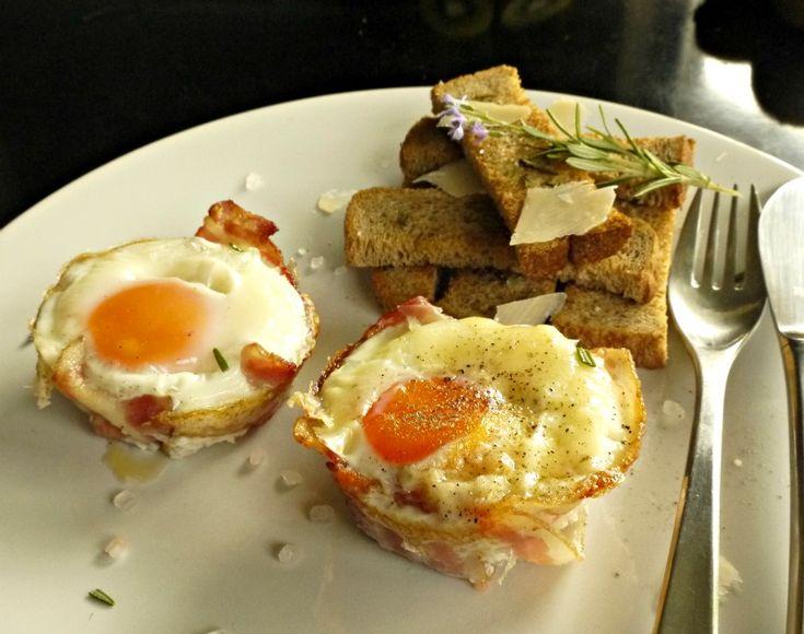 αυγά με μπέικον στο φούρνο - brunch Κυριακής