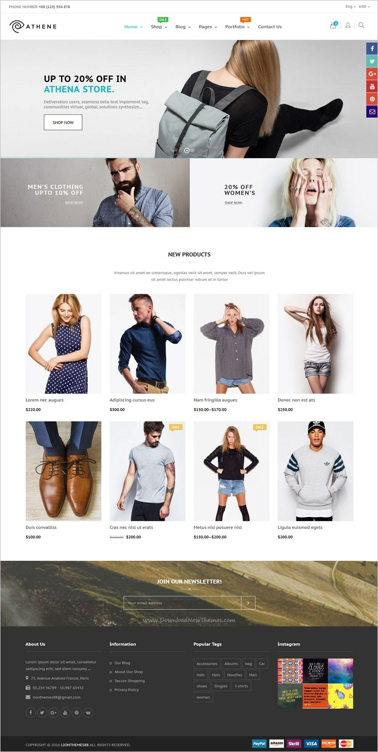 Athene is beautifully design responsive #WooCommerce #WordPress theme for stunning fashion #shop eCommerce website with 6+ unique homepage layouts download now➩ https://themeforest.net/item/athena-woocommerce-responsive-fashion-theme/18887195?ref=Datasata