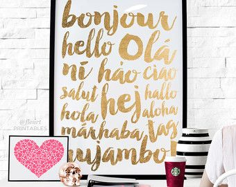 Printable Wall Art Inspirational Print Bonjour by FleurtCollective