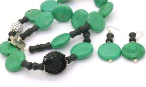 Black Sequin Bead with Teal Beaded Necklace, 54cm - with Earrings,  $37.95