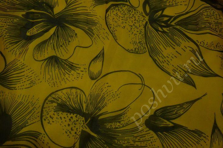 Ткань натуральный шёлк жёлтого цвета с оригинальным узором
