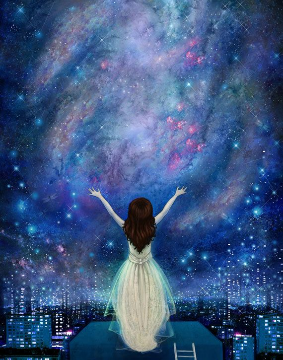 Reach For The Stars print 8X10 star painting por Meluseena