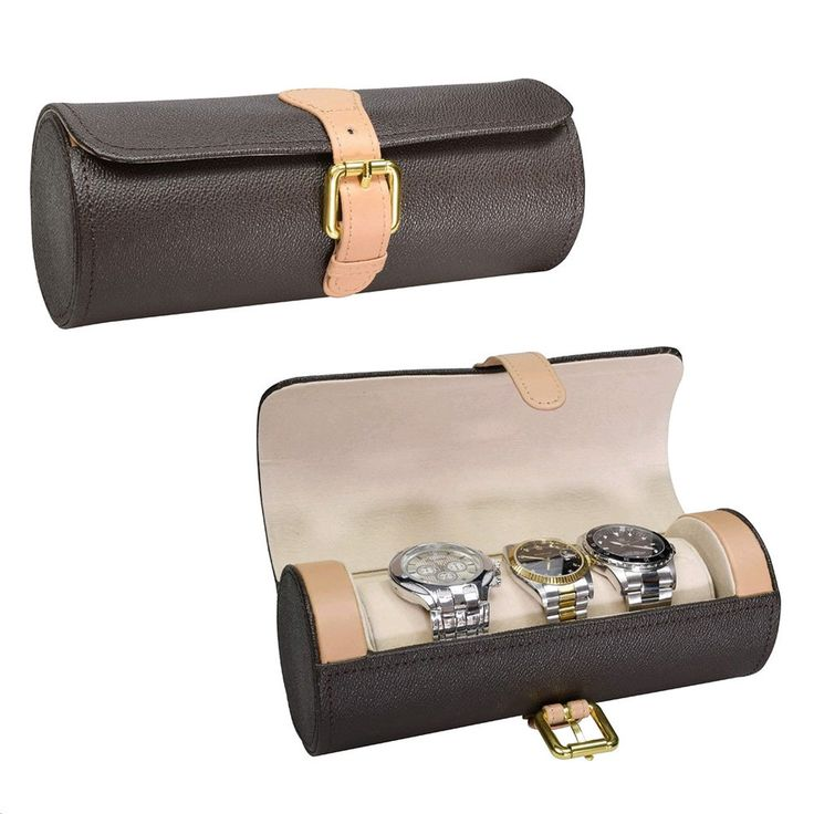 """Ikee Design® Leatherette Watch Storage Travel Case For 3 Watches 3.25"""" x 8.37"""" x 3.25"""""""