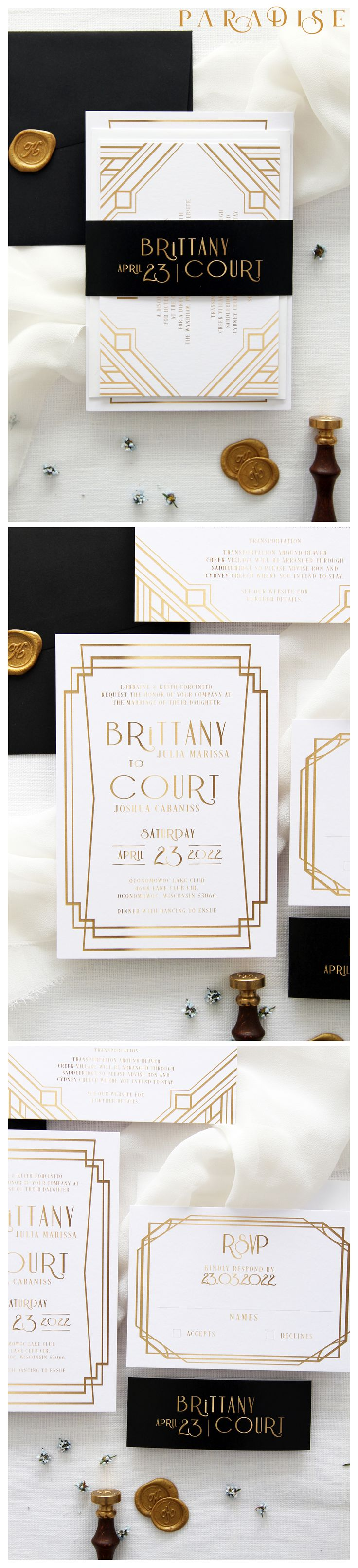 Art Deco 4 Wedding Invitation Sets Golden