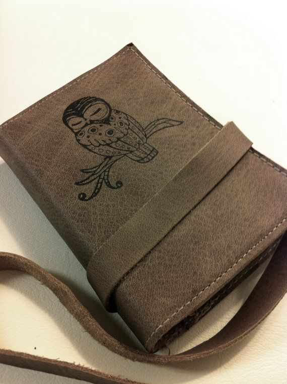 small leather journal/sketchbook handprinted custom for you sleepy owl