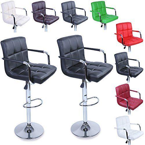 TRESKO® Lot de 2 Tabourets de bar Chaise de bar Chaise lounge avec dossier et accoudoir, 8 couleurs différentes, chromé, rotation à 360°,…