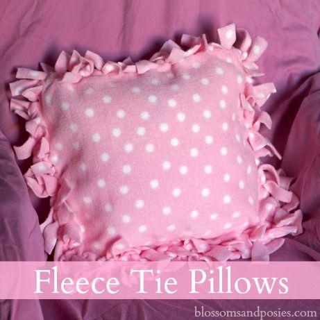 Great idea for a homemade gift - fleece tie pillow!