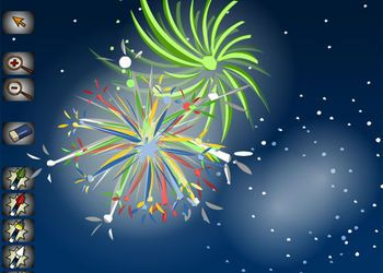 Create your own virtual firework display - noisy fun! Drag different fireworks onto the screen and change colour and position