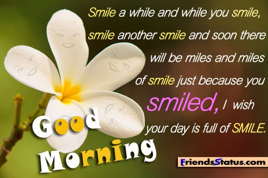 Smile a while and while you smile, smile another smile and soon there will be miles and miles of smile just because you smiled, I wish your day is full of SMILE. Good Morning