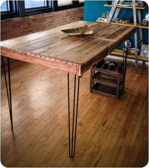 Reclaimed Wood Dining Table with Hairpin Legs Pub by RustedCreek   420 00    dining room   Pinterest   Reclaimed wood dining table  Hairpin legs and  Woods. Reclaimed Wood Dining Table with Hairpin Legs Pub by RustedCreek