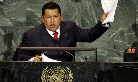 """Hugo Chávez speaking in September 2005 at the United Nations. On his return the following year, he complained of the smell of sulphur left on the podium by """"the devil"""", President George W Bush. Photograph: TIMOTHY A. CLARY/AFP/Getty Images"""