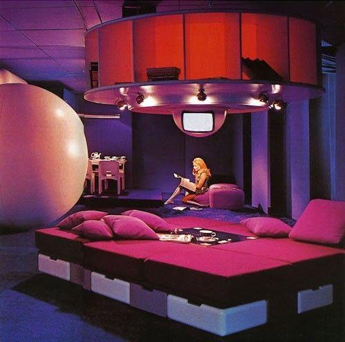 Retro-Futurism / Wohnmodell 1969 by Joe Colombo, retro-futuristic furniture, retro-futuristic interior, retro-futuristic home, future house