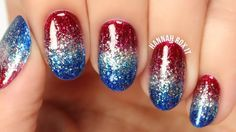 ❤ OPEN FOR PRODUCT INFO & MORE! 4th of July Nails! Patriotic Glitter Gradient!…