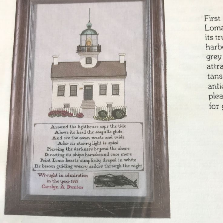 Old Point Loma Lighthouse Sampler Cross Stitch Chart And Fabric