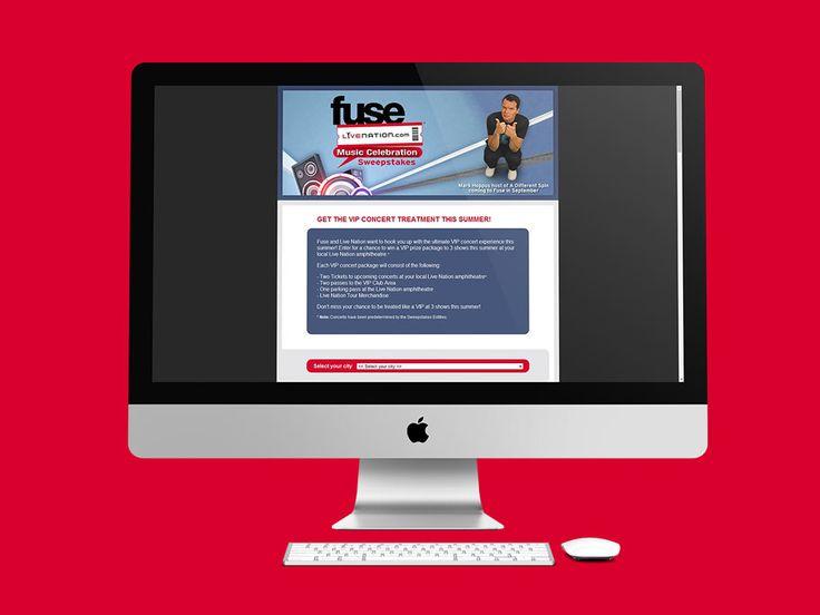 Fuse Live Nation es un concurso de Live Nation Entertainment para entregar boletas de conciertos en Atlanta, EE.UU. Se hizo el diseño de página web en HTML.  Año 2010.